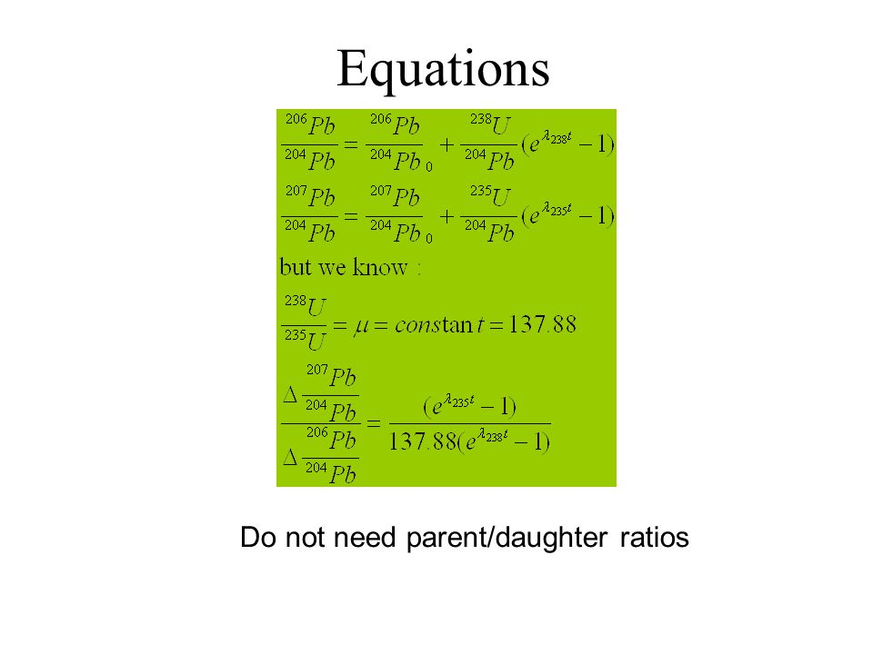 Equations Do not need parent/daughter ratios