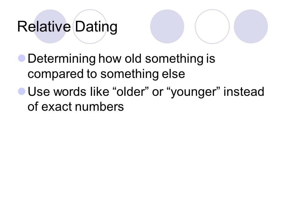 Relative Dating Determining how old something is compared to something else.
