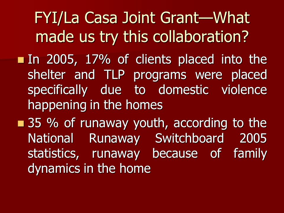 FYI/La Casa Joint Grant—What made us try this collaboration