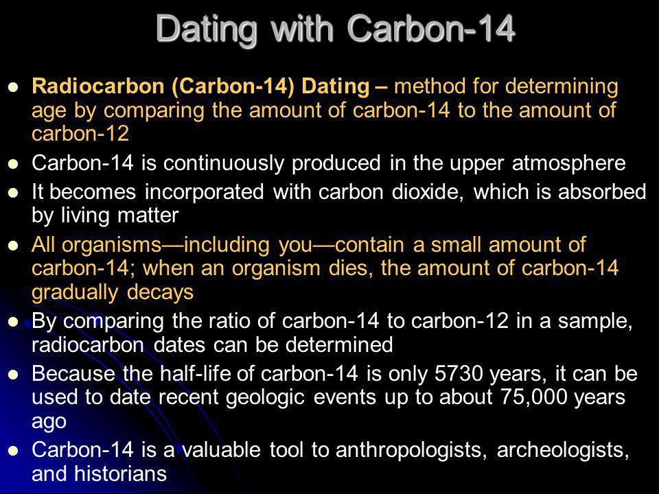 Dating with Carbon-14 Radiocarbon (Carbon-14) Dating – method for determining age by comparing the amount of carbon-14 to the amount of carbon-12.