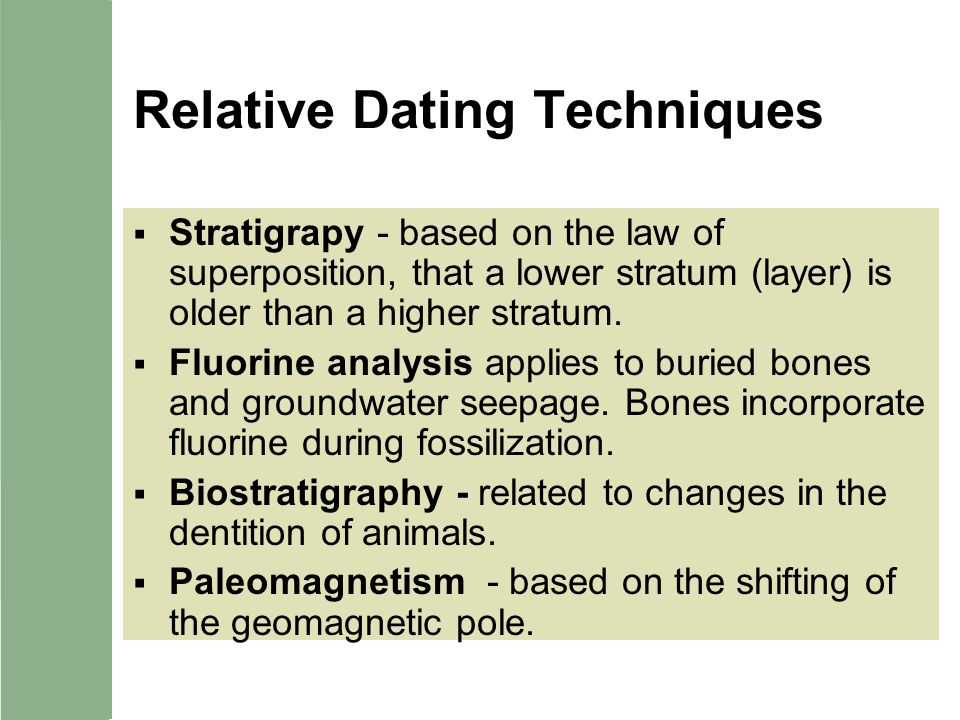 Relative and chronometric absolute dating techniques