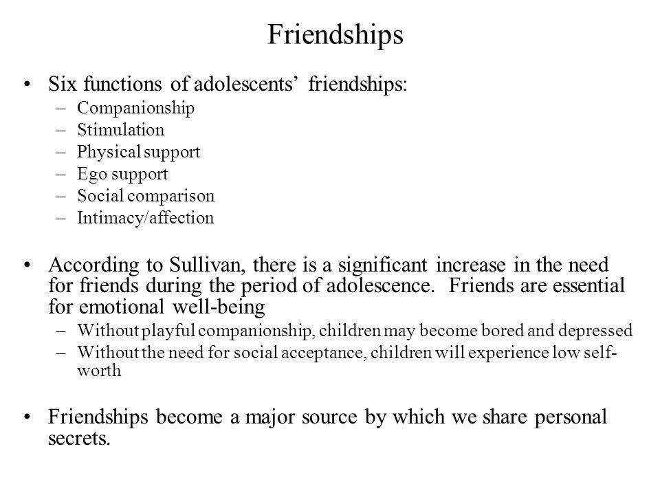 Friendships Six functions of adolescents' friendships: