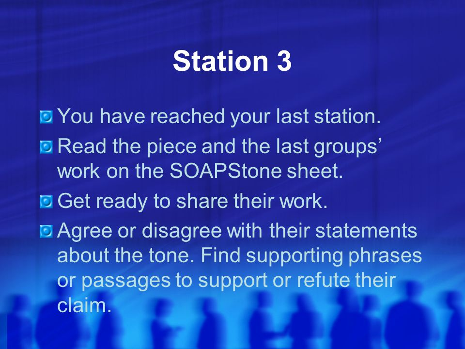Station 3 You have reached your last station.