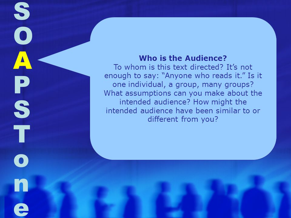 S O A P S T o n e Who is the Audience