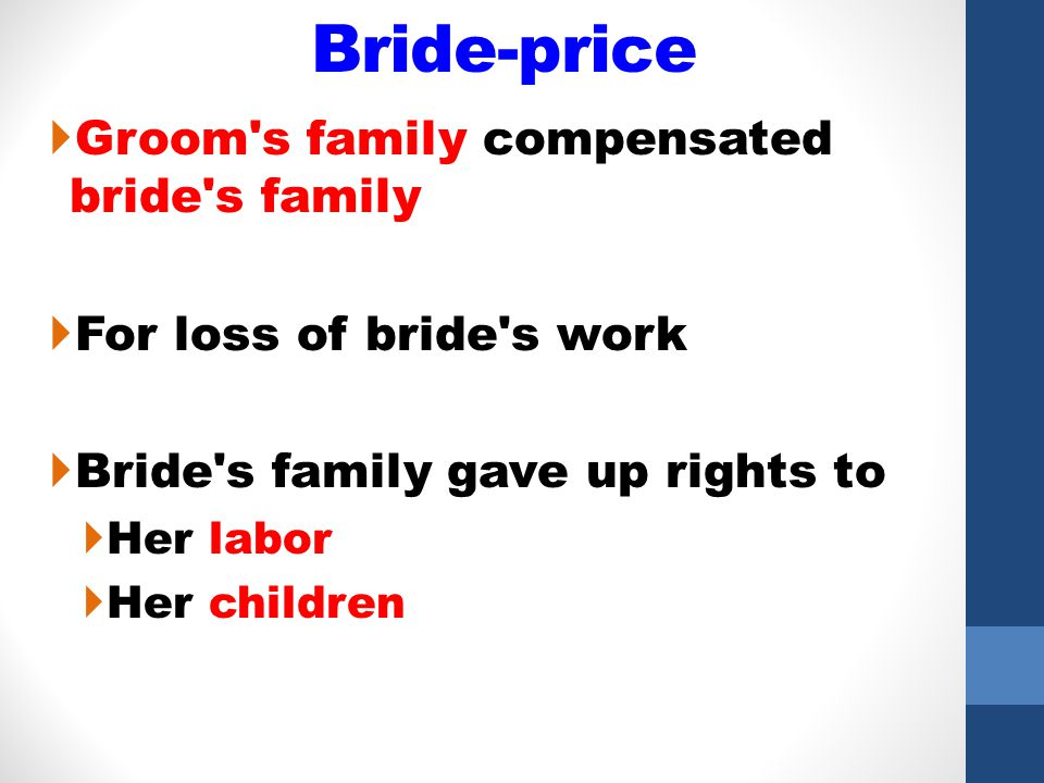 Bride-price Groom s family compensated bride s family