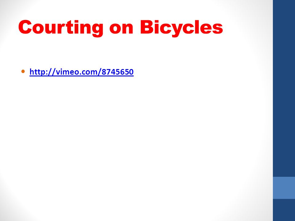Courting on Bicycles http://vimeo.com/8745650