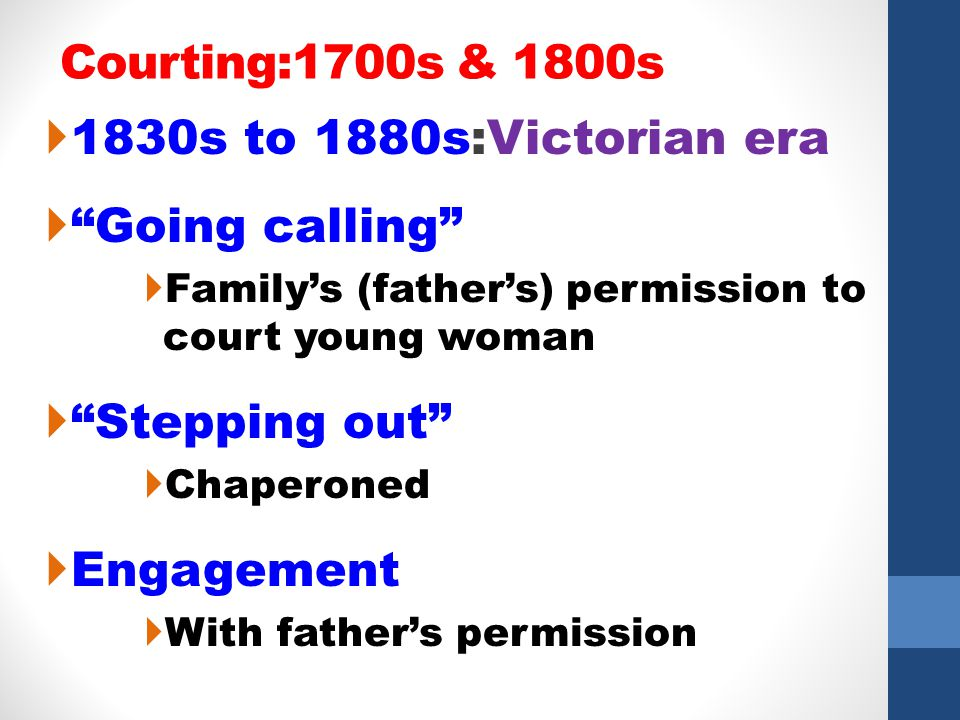 Courting:1700s & 1800s 1830s to 1880s:Victorian era Going calling