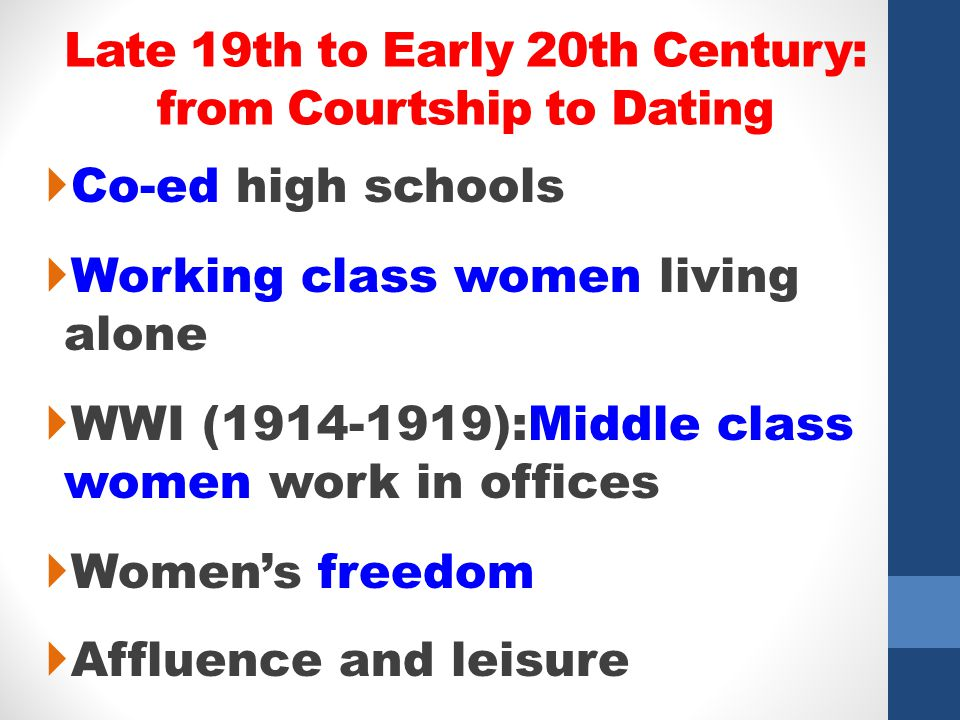 Late 19th to Early 20th Century: from Courtship to Dating