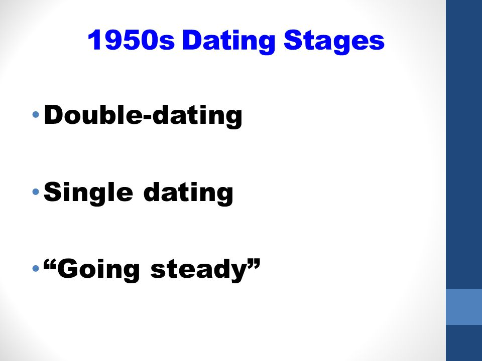 1950s Dating Stages Double-dating Single dating Going steady