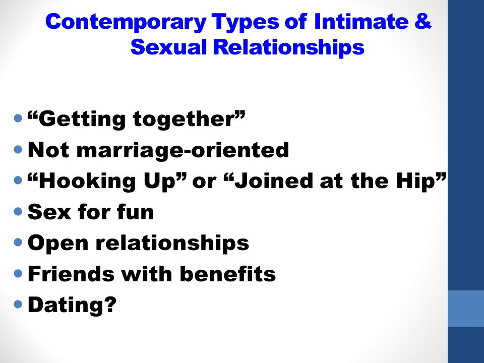 Contemporary Types of Intimate & Sexual Relationships