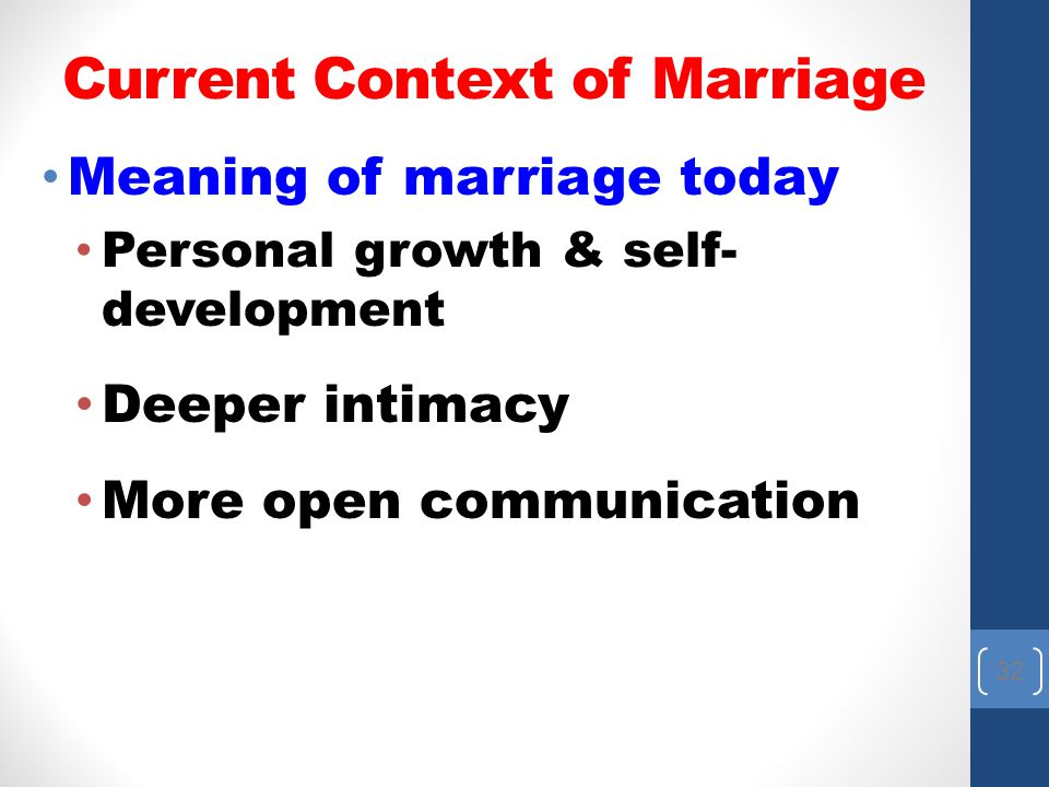 Current Context of Marriage
