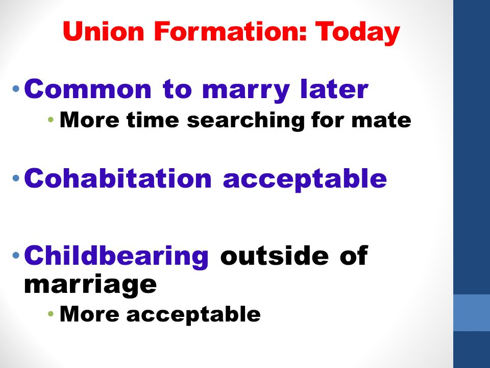 Union Formation: Today