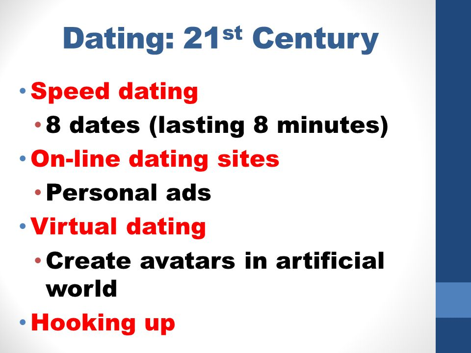Dating: 21st Century Speed dating 8 dates (lasting 8 minutes)