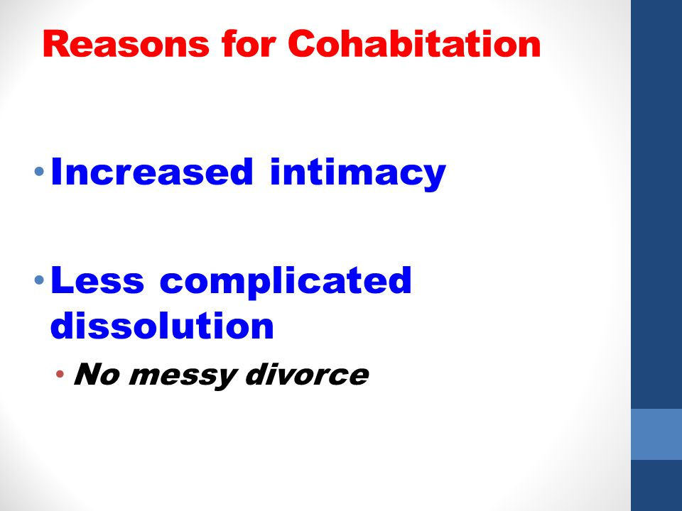 Reasons for Cohabitation