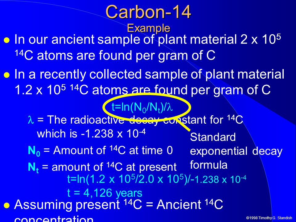 Carbon-14 Example In our ancient sample of plant material 2 x 105 14C atoms are found per gram of C.