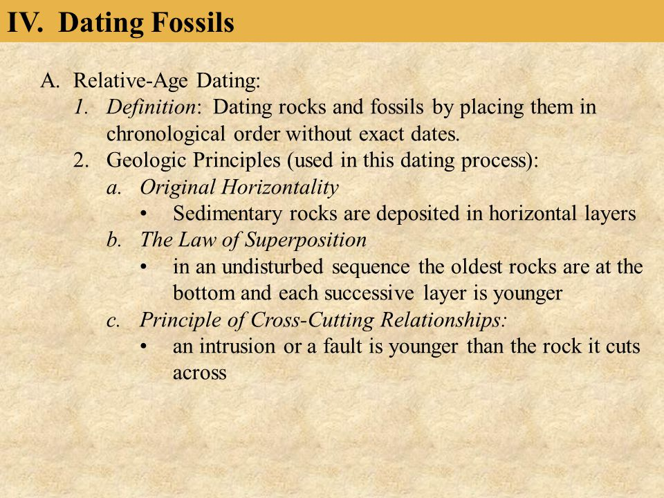 IV. Dating Fossils Relative-Age Dating: