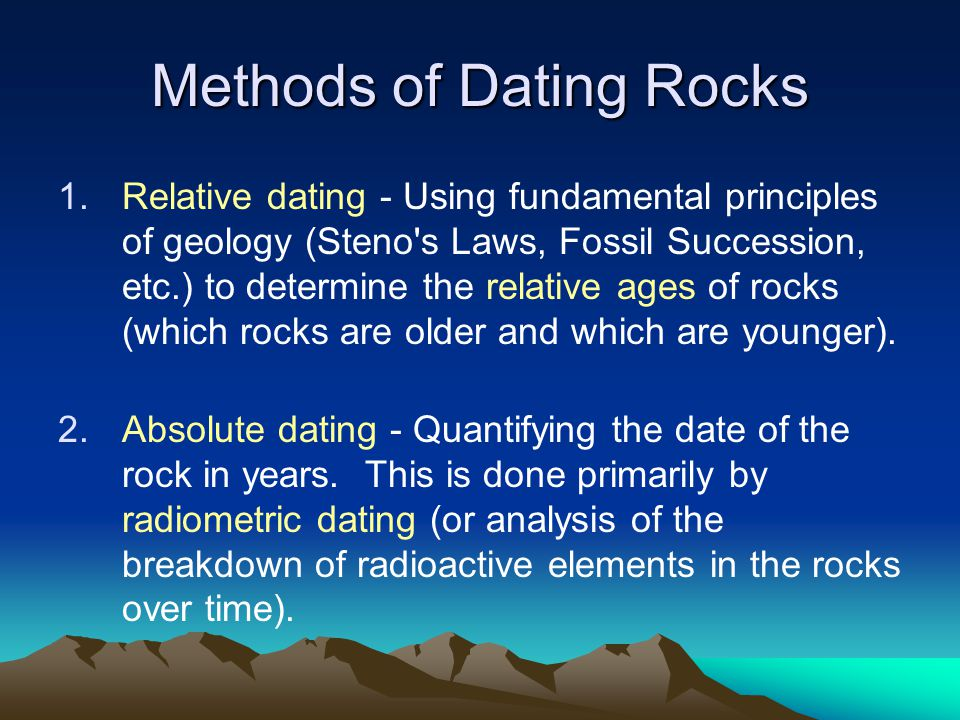 one method of relative dating Dating methods dating techniques are procedures used by scientists to  determine the age of a specimen relative dating methods tell only if one sample  is.