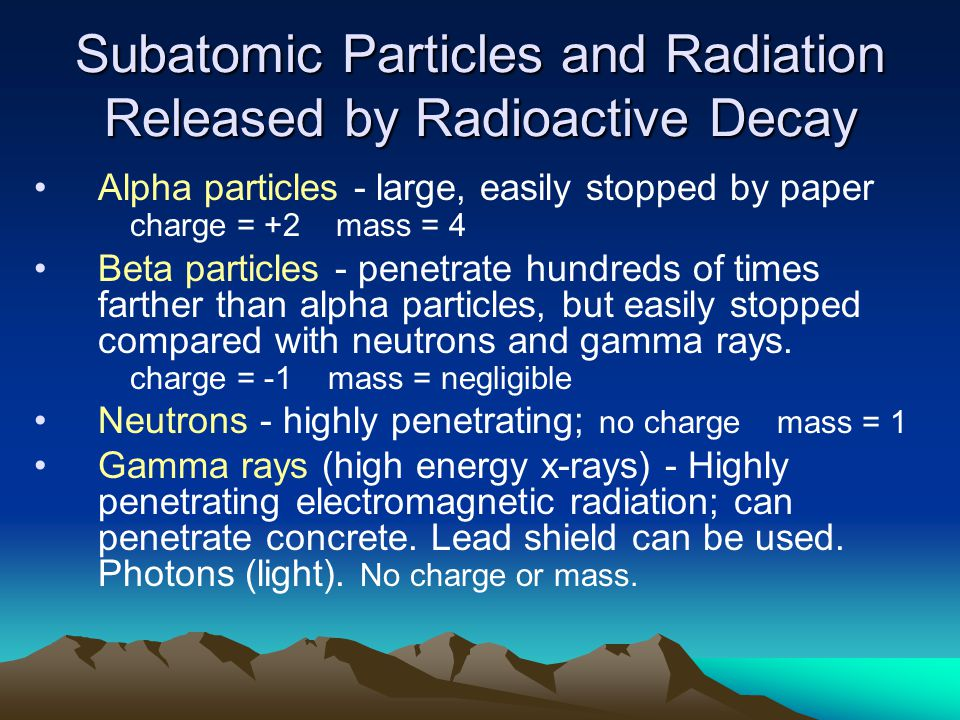 Subatomic Particles and Radiation Released by Radioactive Decay