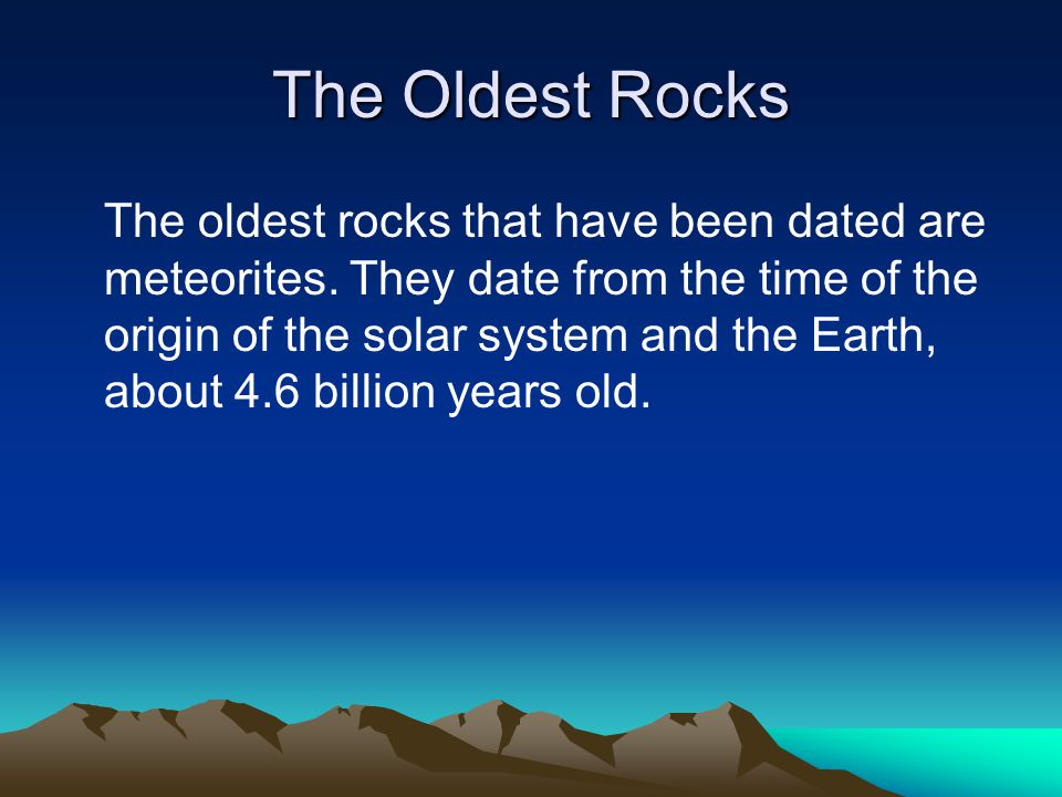 The Oldest Rocks