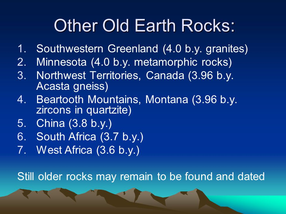 Other Old Earth Rocks: Southwestern Greenland (4.0 b.y. granites)
