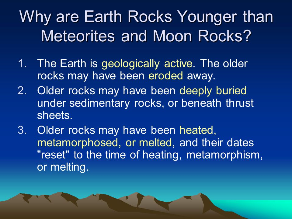 Why are Earth Rocks Younger than Meteorites and Moon Rocks