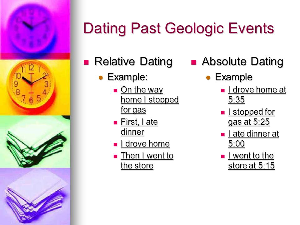 An example of relative dating is