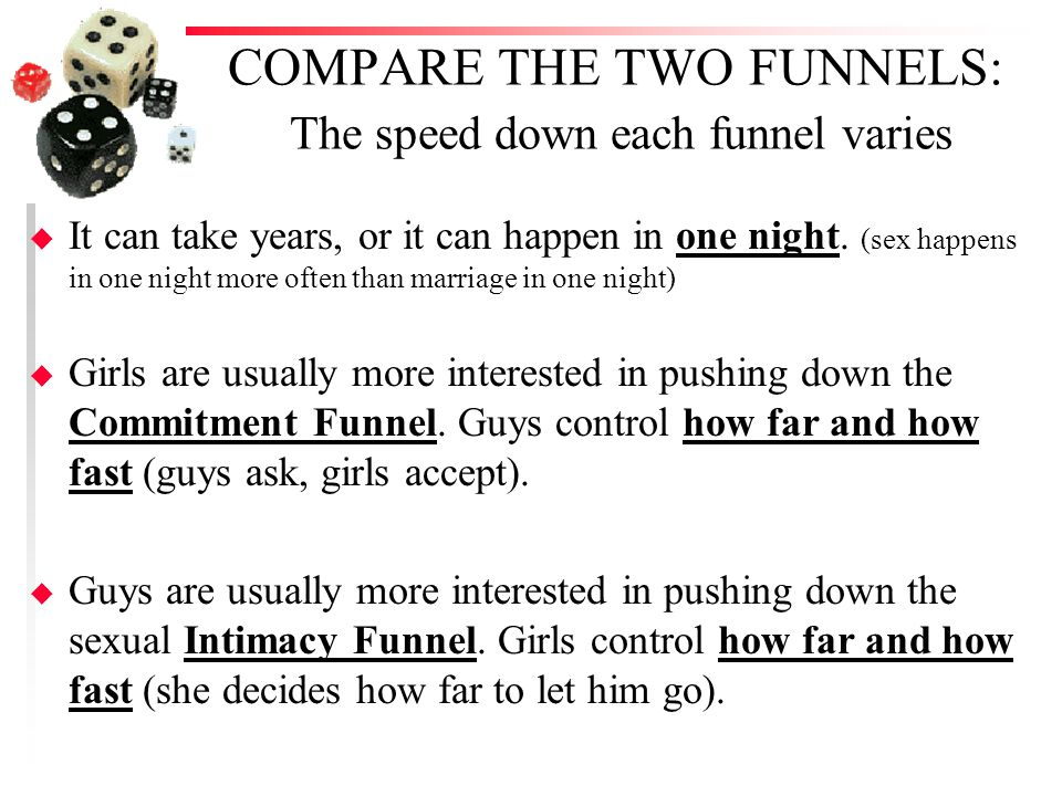 COMPARE THE TWO FUNNELS: The speed down each funnel varies