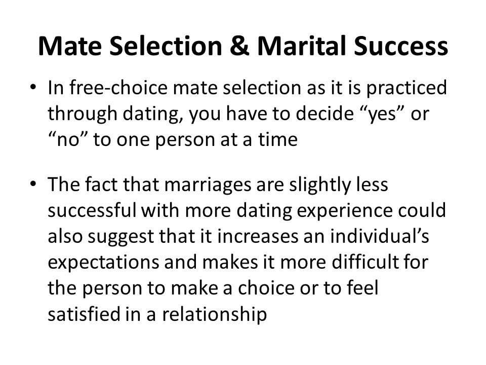 dating and mate selection Dating deception: gender, online dating gender differences in mate selection men and women are similar in that they both want mates that are kind.