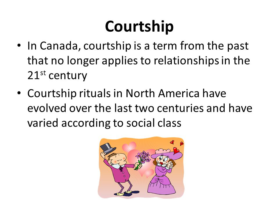 Courtship In Canada, courtship is a term from the past that no longer applies to relationships in the 21st century.