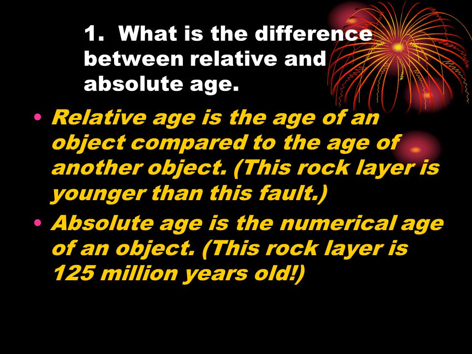 1. What is the difference between relative and absolute age.