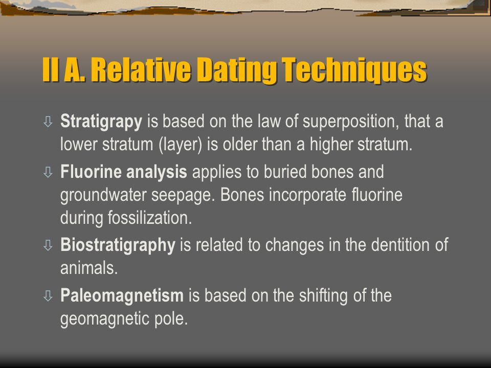 II A. Relative Dating Techniques