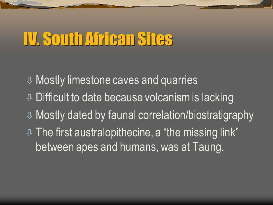 IV. South African Sites Mostly limestone caves and quarries