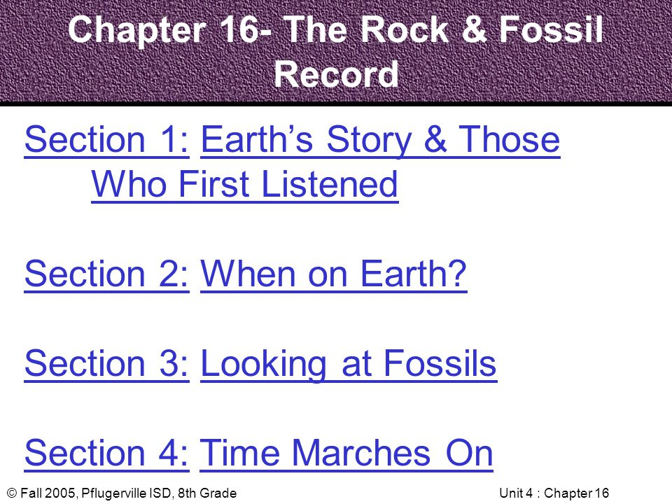 Chapter 16- The Rock & Fossil Record