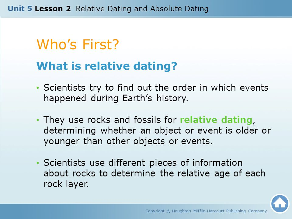 Relative dating helps to determine