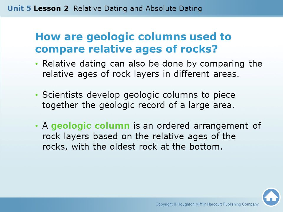 How are geologic columns used to compare relative ages of rocks