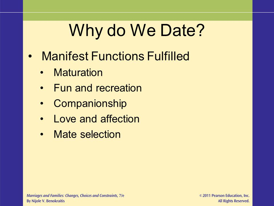 Why do We Date Manifest Functions Fulfilled Maturation