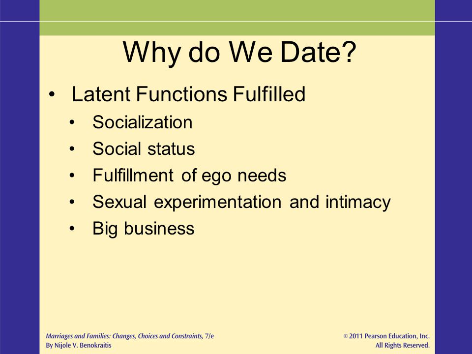 Why do We Date Latent Functions Fulfilled Socialization Social status