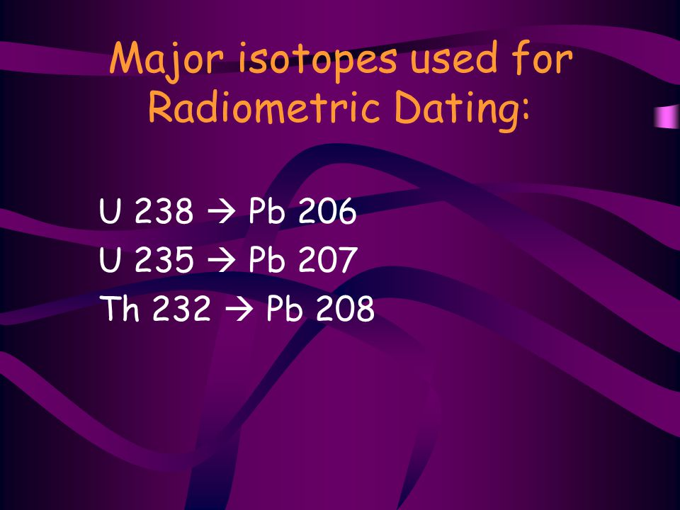 Major isotopes used for Radiometric Dating: