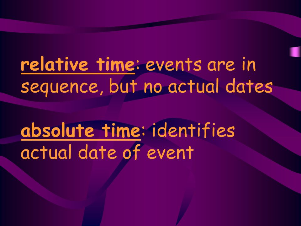 relative time: events are in sequence, but no actual dates absolute time: identifies actual date of event