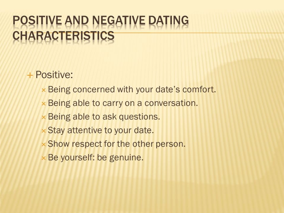 positive and negative characteristics of a relationship