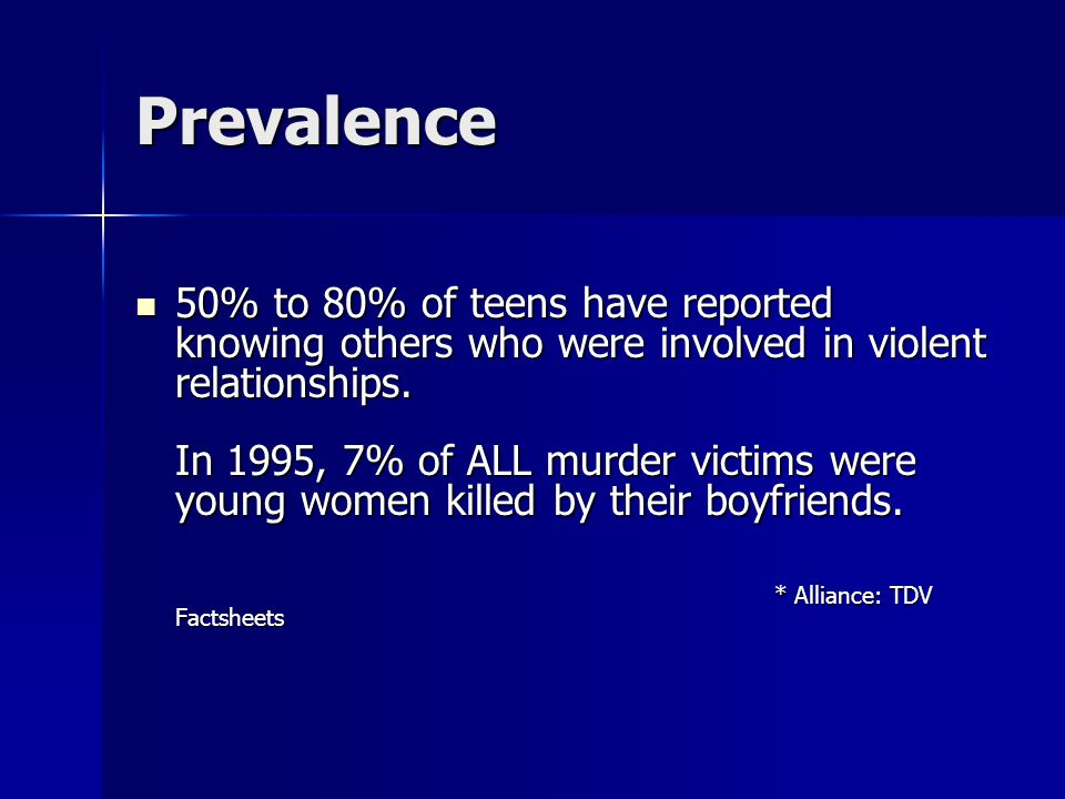 Prevalence 50% to 80% of teens have reported knowing others who were involved in violent relationships.