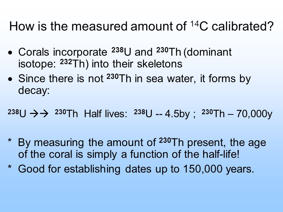 How is the measured amount of 14C calibrated