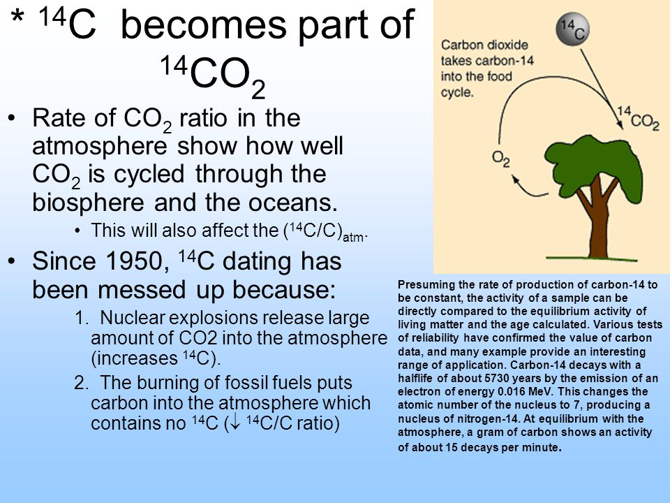 * 14C becomes part of 14CO2 Rate of CO2 ratio in the atmosphere show how well CO2 is cycled through the biosphere and the oceans.