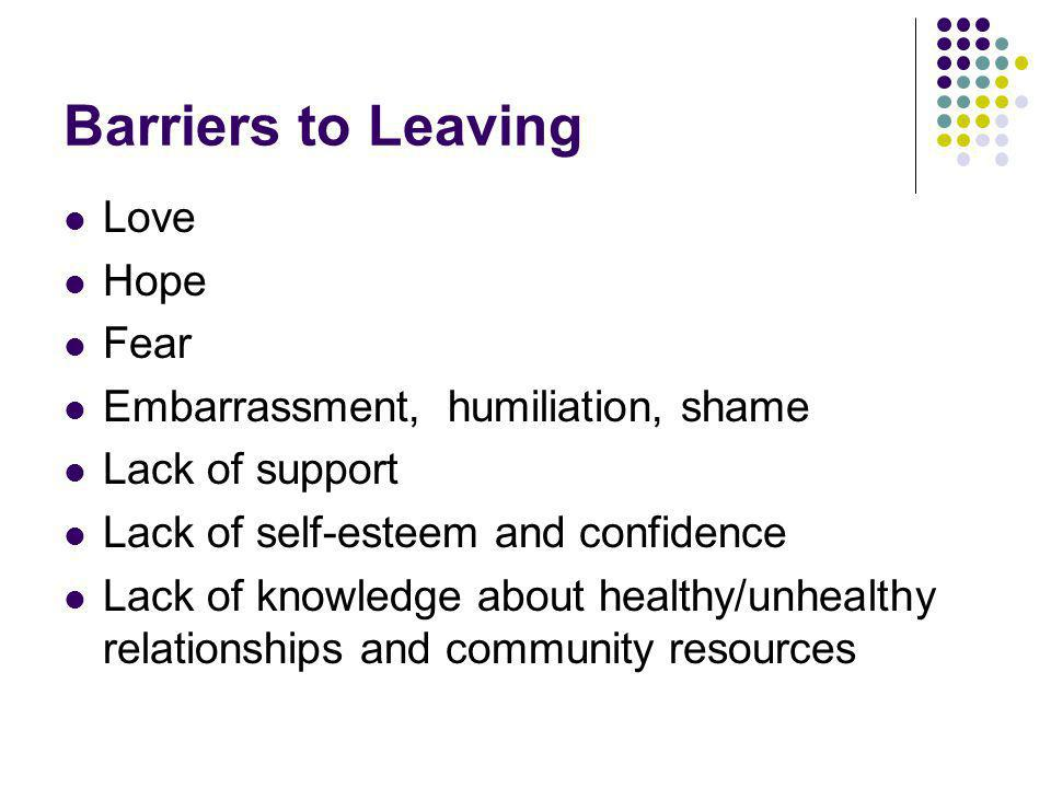 Barriers to Leaving Love Hope Fear Embarrassment, humiliation, shame