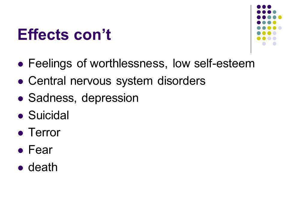 Effects con't Feelings of worthlessness, low self-esteem