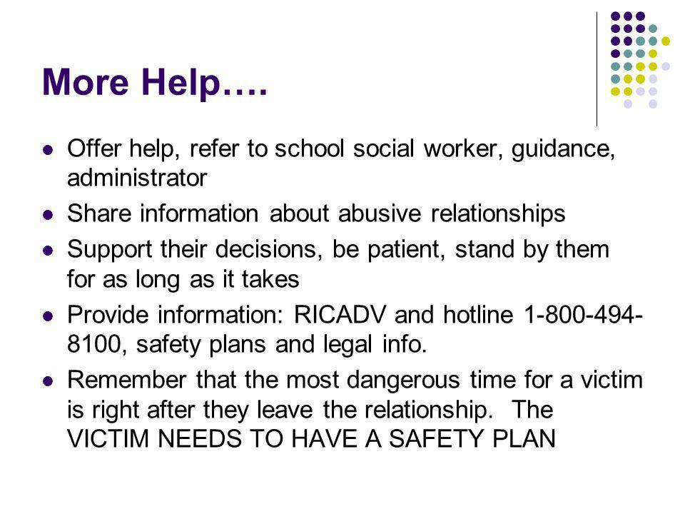 More Help…. Offer help, refer to school social worker, guidance, administrator. Share information about abusive relationships.
