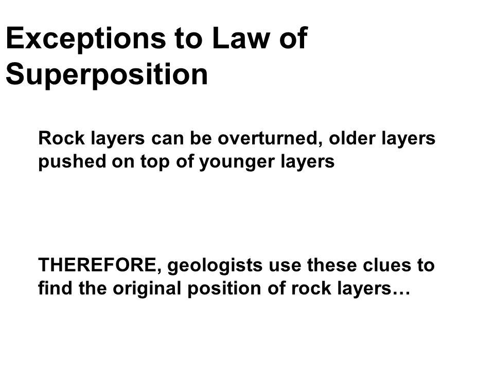 Exceptions to Law of Superposition