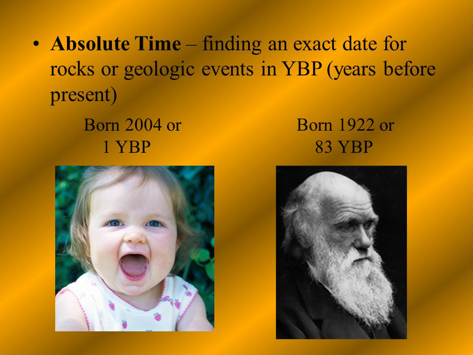 Absolute Time – finding an exact date for rocks or geologic events in YBP (years before present)