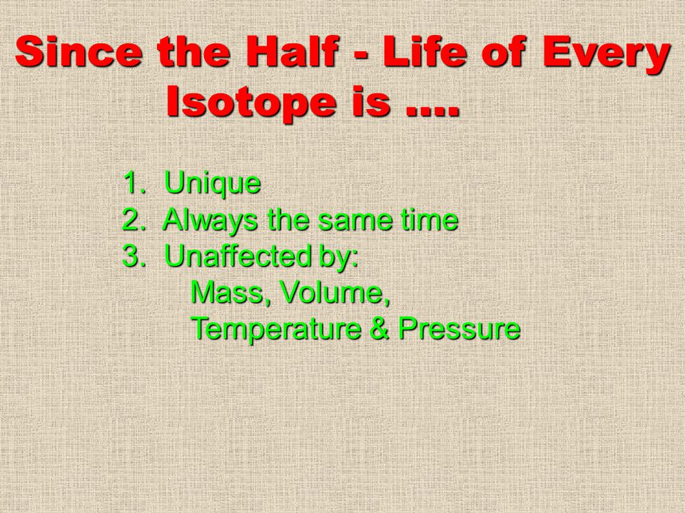 Since the Half - Life of Every Isotope is ….