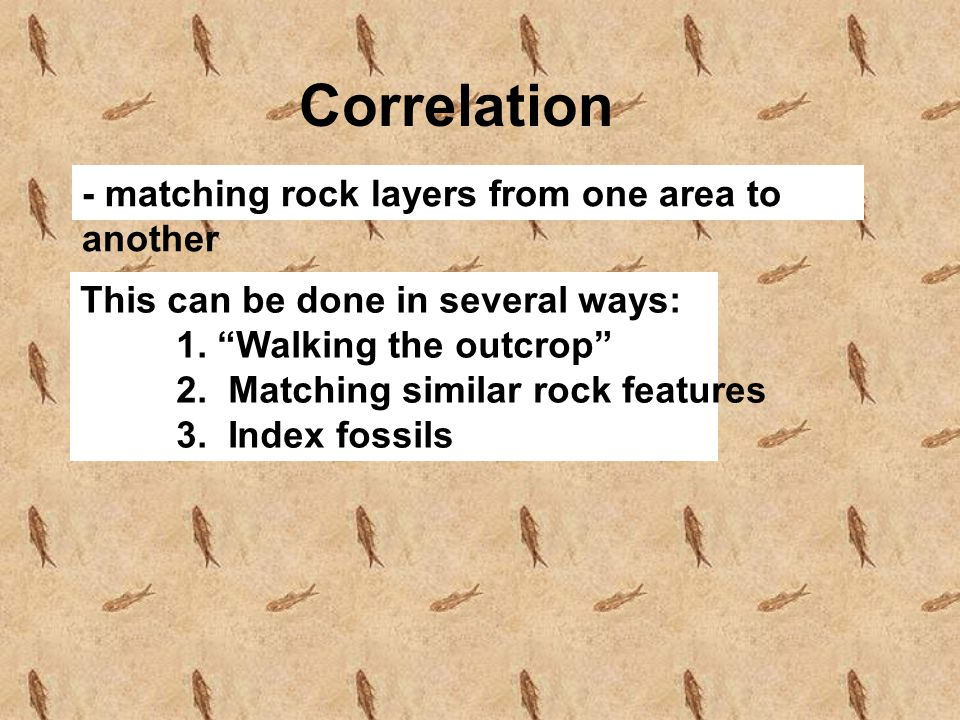Correlation - matching rock layers from one area to another